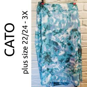 16cf69dbfe3 Cato plus size 22 24 3X blue watercolor maxi skirt